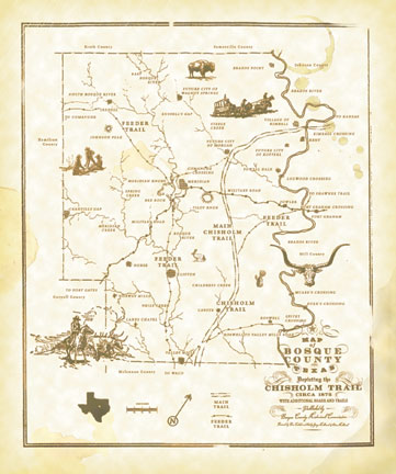 Bosque County Historical Commission Store And Gift Shop Maps - Chisholm trail map